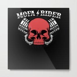 Mofa Rider Scooter Moped Driver Metal Print