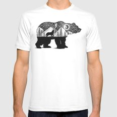 THE BEAR AND THE WOLF White Mens Fitted Tee MEDIUM