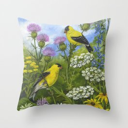 Goldfinches and Thistle Throw Pillow