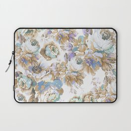 Vintage blush lavender brown teal blue roses floral Laptop Sleeve