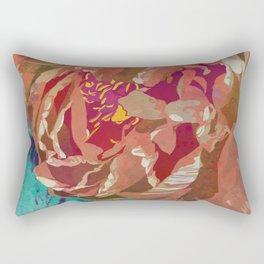 Peach Orange Peony Flower Art   Watercolor Floral Illustration Rectangular Pillow