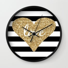 Love in a Gold Heart Wall Clock