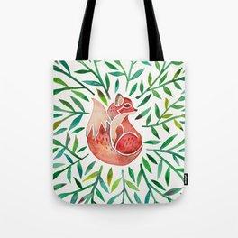 Woodland Fox – Green Leaves Tote Bag