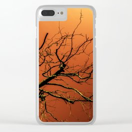 Red Branches of Crimson Dream Surreal Tree Art Clear iPhone Case