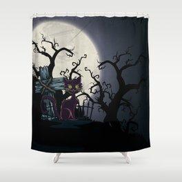Vintage Halloween Cemetery Cat Shower Curtain