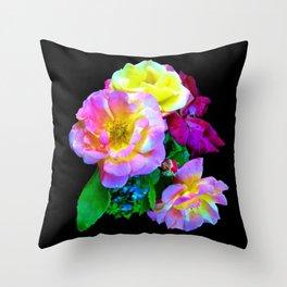 Rosa Yellow Roses on Black Throw Pillow