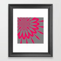 Gray & Pink Modern Flower Framed Art Print