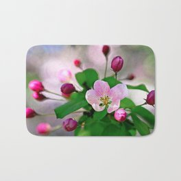 Crabapple flowers and buds. Outburst of life Bath Mat