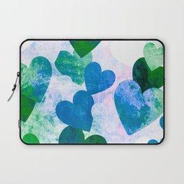 Fab Green & Blue Grungy Hearts Design Laptop Sleeve