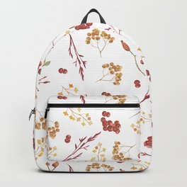 Autumn yellow orange pink red watercolor fall leaves berries Backpack