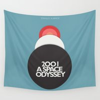 stanley kubrick Wall Tapestries featuring 2001 a Space Odyssey - Stanley Kubrick Movie Poster by Stefanoreves