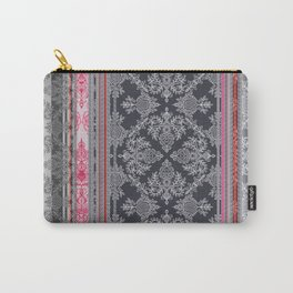 Burgundy, Pink, Navy & Grey Vintage Bohemian Wallpaper Carry-All Pouch