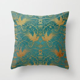 """""""Turquoise and Gold Paradise Birds"""" Throw Pillow"""