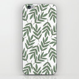 Vintage green white foliage leaves floral pattern iPhone Skin