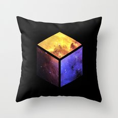 Nebula Cube - Black Throw Pillow