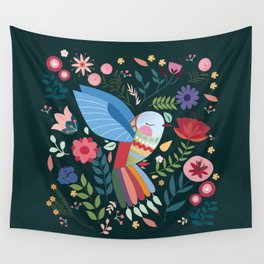 Folk Art Inspired Hummingbird With A Flurry Of Flowers Wall Tapestry