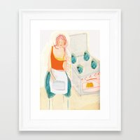 cooking Framed Art Prints featuring Cooking Love! by Mareike Engelke