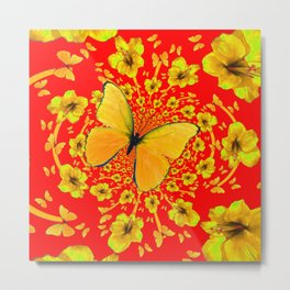 BUTTERFLIES RED  AMARYLLIS FLOWERS ABSTRACT ART Metal Print