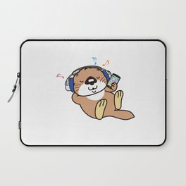 a sea otter listening to the music Laptop Sleeve