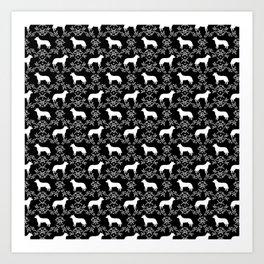 Australian Cattle Dog minimal floral silhouette pattern black and white dog art Art Print
