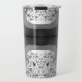 Modern Black and White Speckles and Swirls Travel Mug