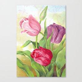 Pastel Tulip Trio - Distressed Tulip Collage Canvas Print