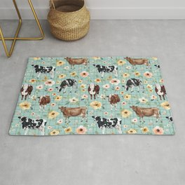 Hand-Drawn Cows and Flowers on Blue with Pin Stripes Rug
