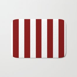 Maroon (HTML/CSS) red - solid color - white vertical lines pattern Bath Mat