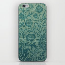art Nouveau,teal,William Morris style, floral,chic,elegant,modern,trending,victorian decor,floral pa iPhone Skin