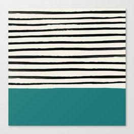 Teal x Stripes Canvas Print