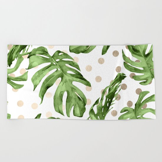 Simply Tropical White Gold Sands Dots and Palm Leaves Beach Towel