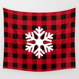 Red Buffalo Check - snowflake Wall Tapestry