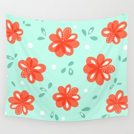 Cheerful Red Flowers Pattern Wall Tapestry