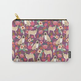Pug dog breed floral must have cute pugs pure breed pet gifts Carry-All Pouch