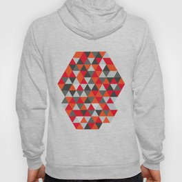 Hot Red and Grey / Gray -  Geometric Triangle Pattern Hoody