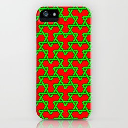 Christmas Triangles - Green on Red iPhone Case