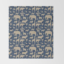 African Fauna // Khaki & Navy Throw Blanket
