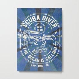 Scuba Diver - Ocean is calling Metal Print