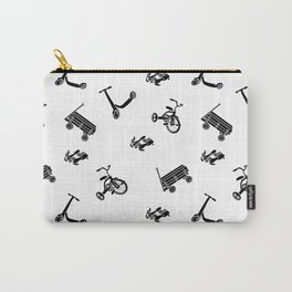 vintage wheels black and white pattern Carry-All Pouch