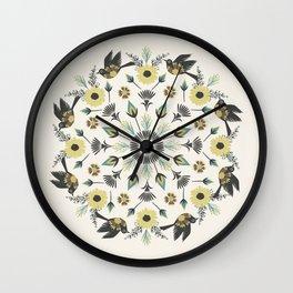 Blackbird Floral Mandala Wall Clock