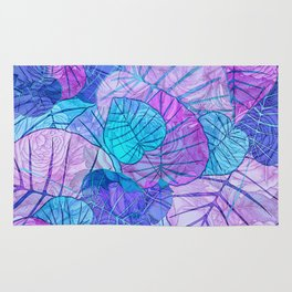 Leaves in Rosy Background Rug