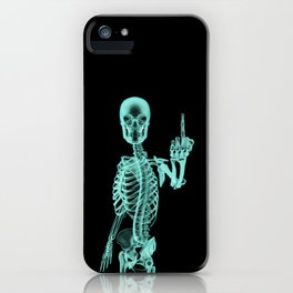 X-ray Bird / X-rayed skeleton demonstrating international hand gesture iPhone Case