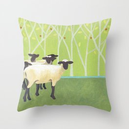 Sheep Crossing Throw Pillow