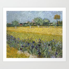 Field with flowers near Arles by Vincent van Gogh Art Print