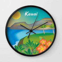 Kauai, Hawaii - Skyline Illustration by Loose Petals Wall Clock