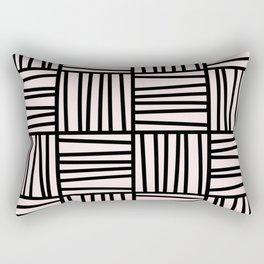 Bold Graphic Memphis Pattern, Black & Pink Blocks & Lines Rectangular Pillow