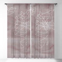 geometrical WORLD - rose aquarelle Sheer Curtain