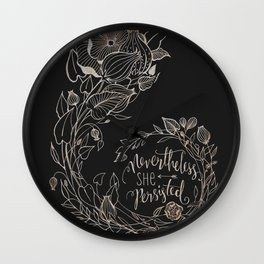 Nevertheless She Persisted Gold Wall Clock