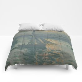 Claude Monet Sunrise (Marine) Comforters