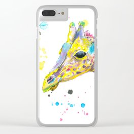 Giraffe - Watercolor Painting Clear iPhone Case